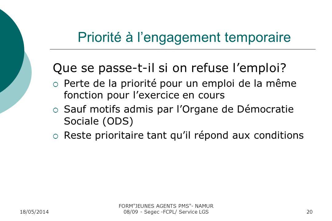 18/05/2014 FORM JEUNES AGENTS PMS - NAMUR 08/09 - Segec -FCPL/ Service LGS20 Priorité à lengagement temporaire Que se passe-t-il si on refuse lemploi.