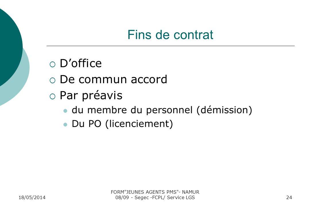 18/05/2014 FORM JEUNES AGENTS PMS - NAMUR 08/09 - Segec -FCPL/ Service LGS24 Fins de contrat Doffice De commun accord Par préavis du membre du personnel (démission) Du PO (licenciement)