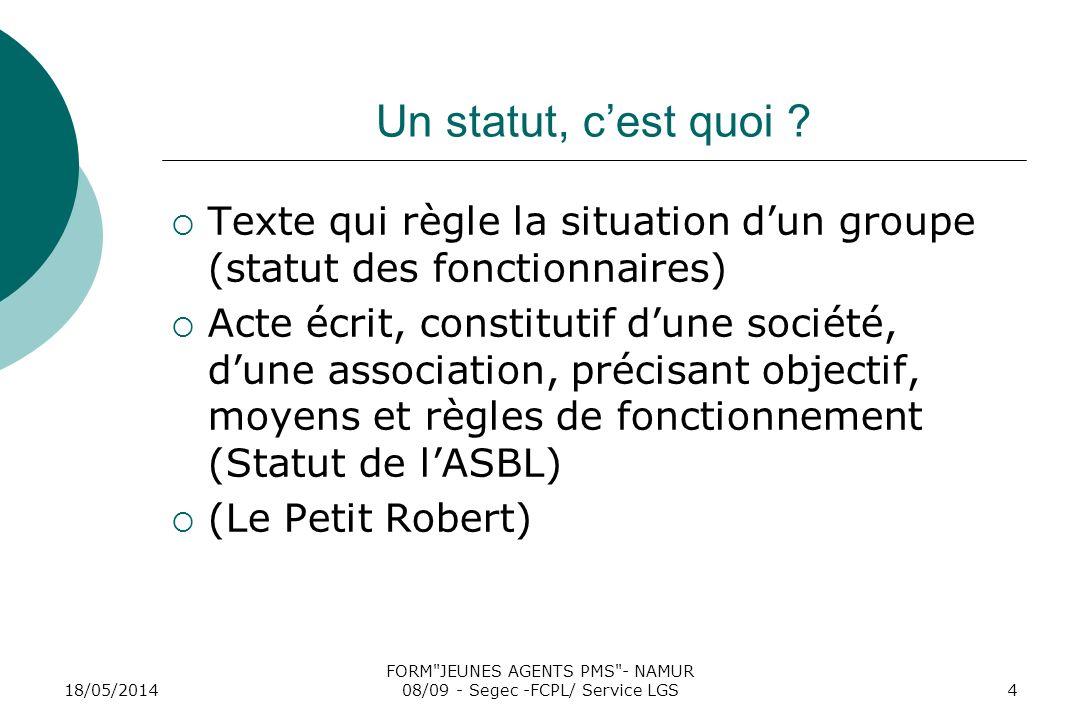 18/05/2014 FORM JEUNES AGENTS PMS - NAMUR 08/09 - Segec -FCPL/ Service LGS4 Un statut, cest quoi .