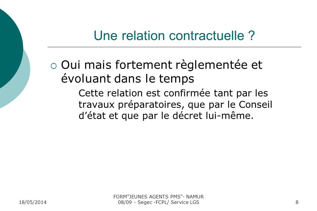 18/05/2014 FORM JEUNES AGENTS PMS - NAMUR 08/09 - Segec -FCPL/ Service LGS8 Une relation contractuelle .