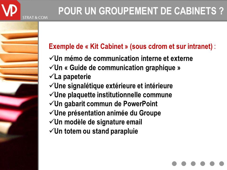 POUR UN GROUPEMENT DE CABINETS ? Exemple de « Kit Cabinet » (sous cdrom et sur intranet) : Un mémo de communication interne et externe Un « Guide de c