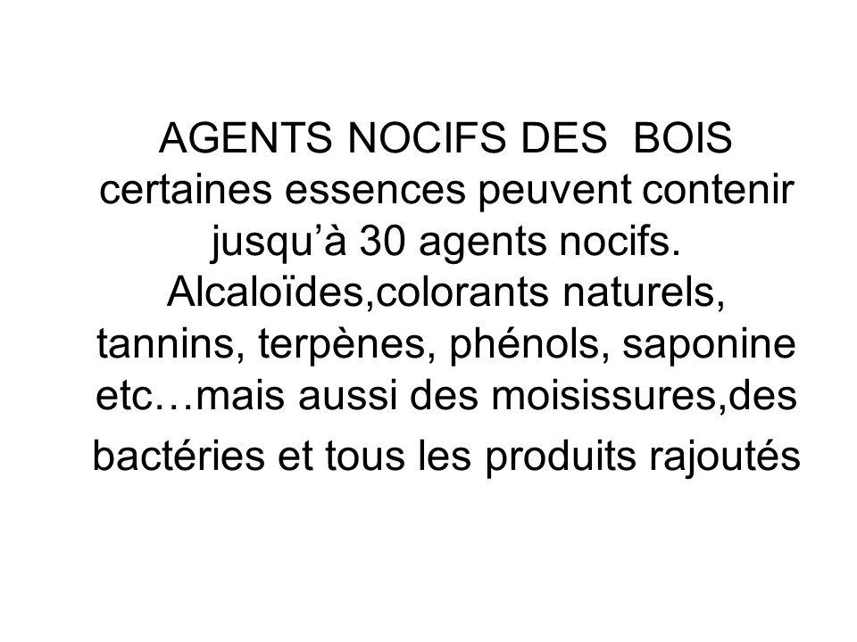 AGENTS NOCIFS DES BOIS certaines essences peuvent contenir jusquà 30 agents nocifs.