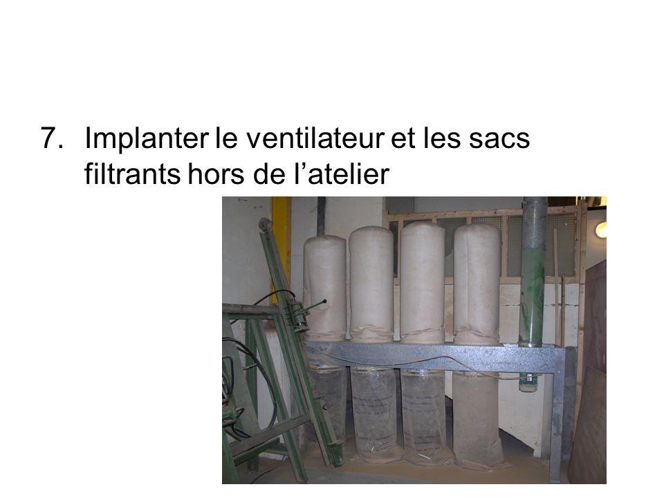 7.Implanter le ventilateur et les sacs filtrants hors de latelier