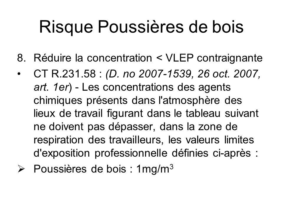 Risque Poussières de bois 8.Réduire la concentration < VLEP contraignante CT R.231.58 : (D.