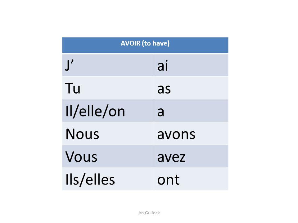 AVOIR (to have) Jai Tuas Il/elle/ona Nousavons Vousavez Ils/ellesont An Gulinck