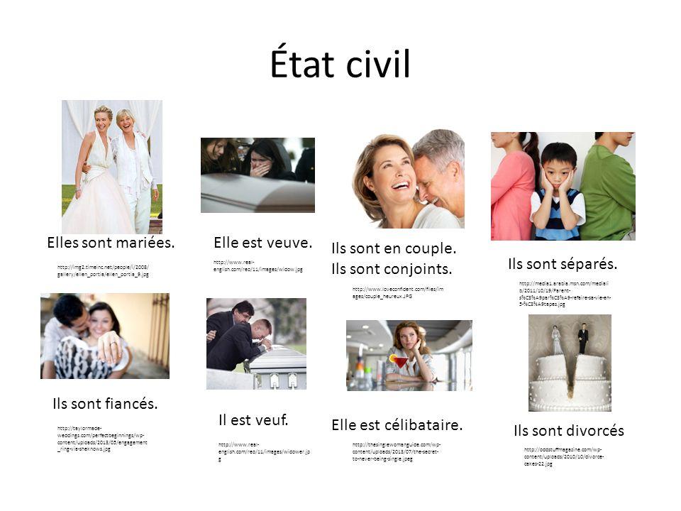 État civil Elles sont mariées. Ils sont fiancés. Elle est célibataire. http://img2.timeinc.net/people/i/2008/ gallery/ellen_portia/ellen_portia_9.jpg
