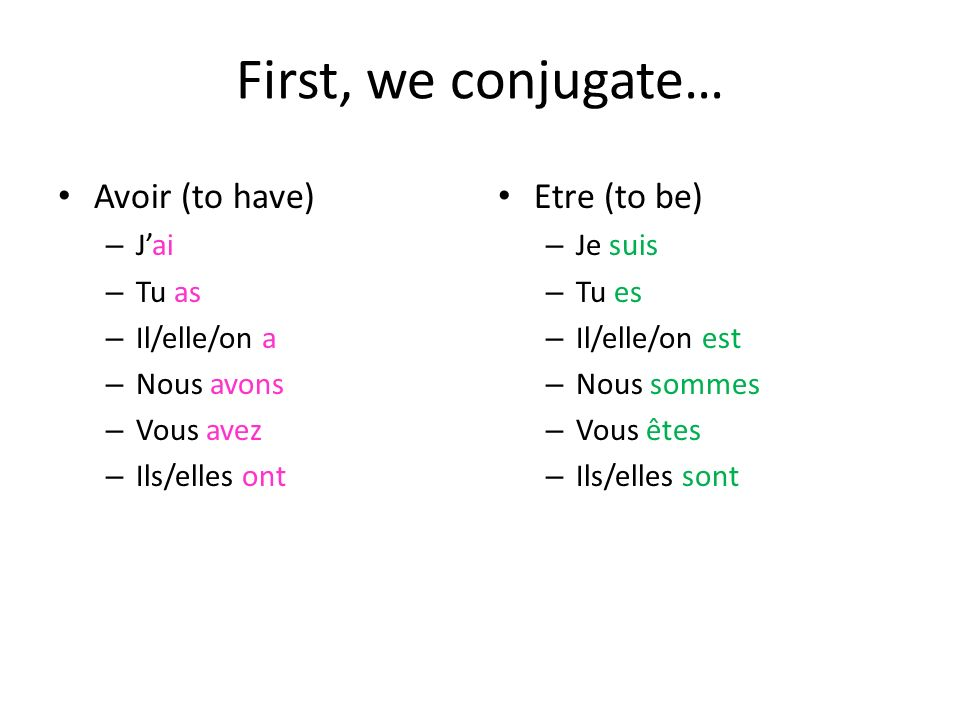 Avoir et Etre are two of the most important verbs in French, but are used differently.
