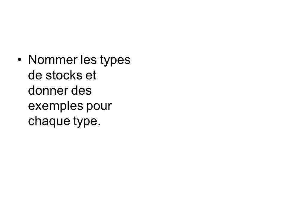 Nommer les types de stocks et donner des exemples pour chaque type.