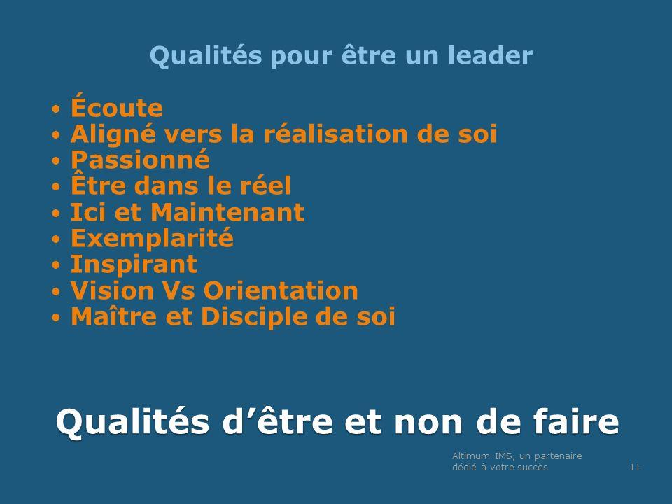 Qualités dêtre et non de faire Qualités pour être un leader Écoute Aligné vers la réalisation de soi Passionné Être dans le réel Ici et Maintenant Exe