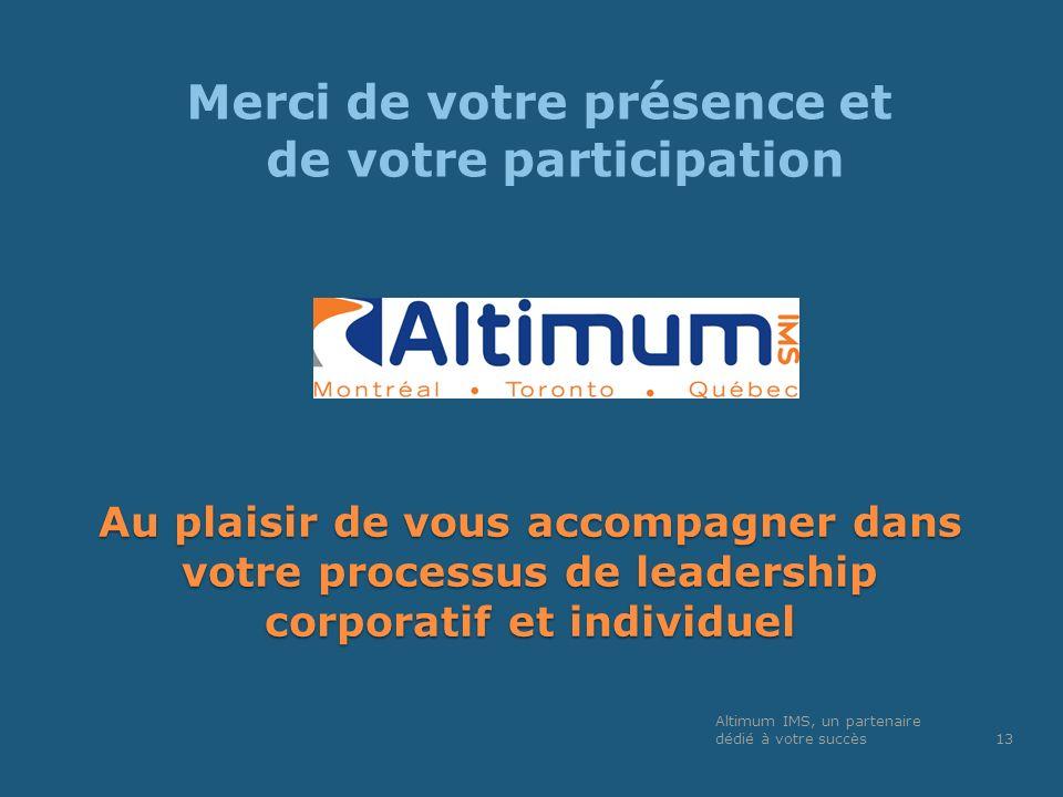 Au plaisir de vous accompagner dans votre processus de leadership corporatif et individuel Merci de votre présence et de votre participation Altimum I