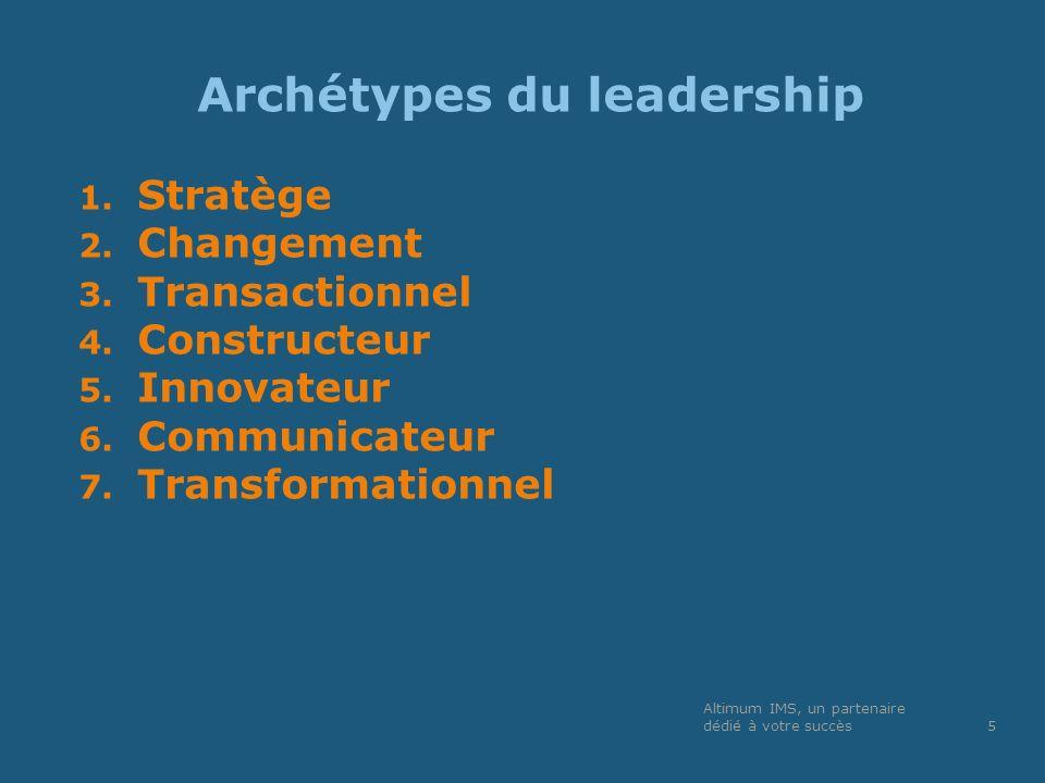 Archétypes du leadership 1. Stratège 2. Changement 3. Transactionnel 4. Constructeur 5. Innovateur 6. Communicateur 7. Transformationnel Altimum IMS,