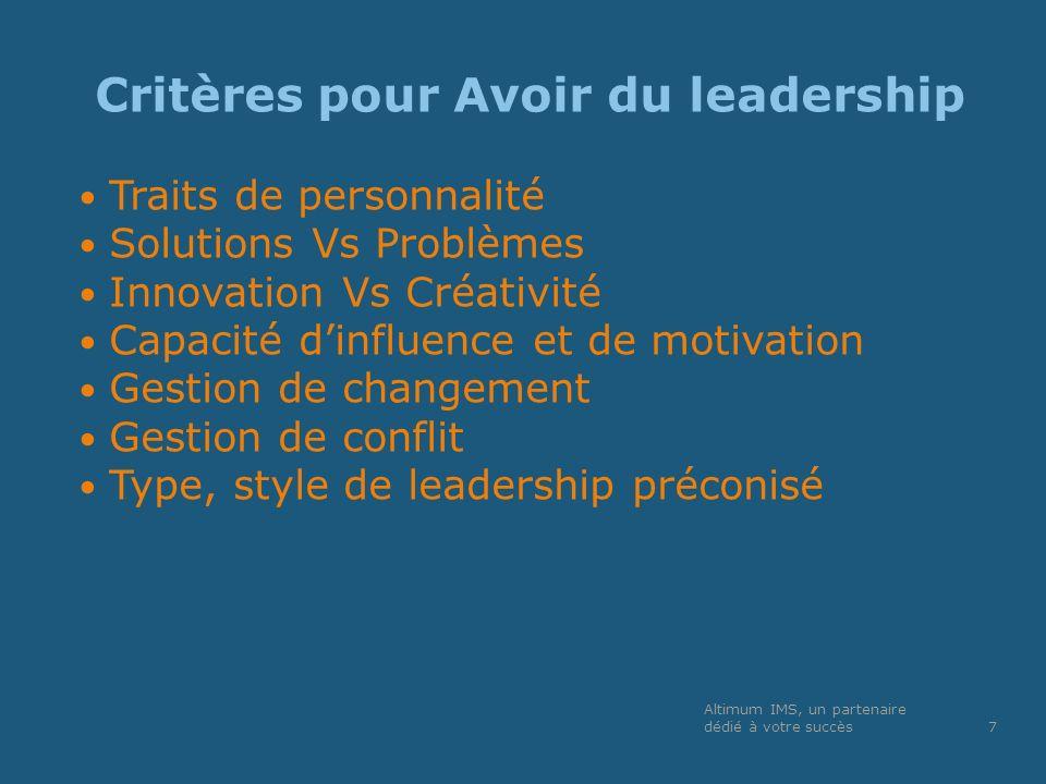 Critères pour Avoir du leadership Traits de personnalité Solutions Vs Problèmes Innovation Vs Créativité Capacité dinfluence et de motivation Gestion