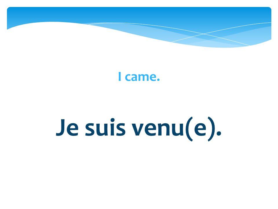 I came. Je suis venu(e).