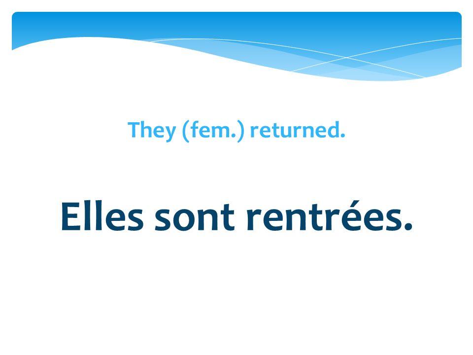 They (fem.) returned. Elles sont rentrées.