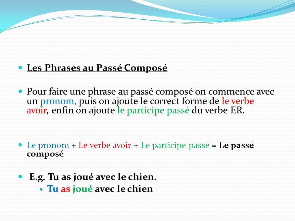 Les Phrases au Passé Composé Pour faire une phrase au passé composé on commence avec un pronom, puis on ajoute le correct forme de le verbe avoir, enf