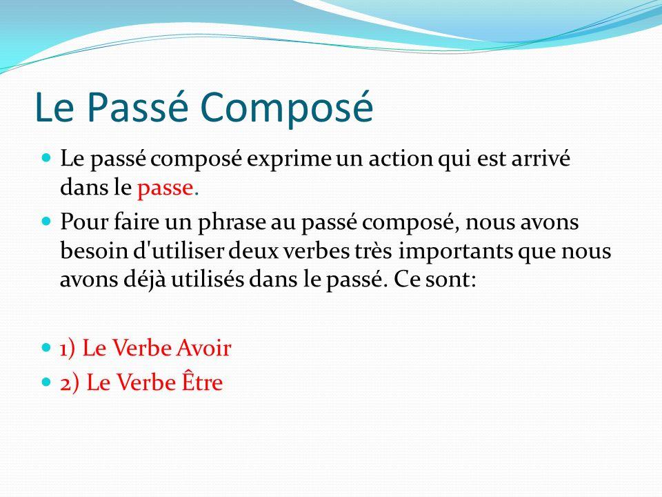 Le Passé Composé Le passé composé exprime un action qui est arrivé dans le passe. Pour faire un phrase au passé composé, nous avons besoin d'utiliser