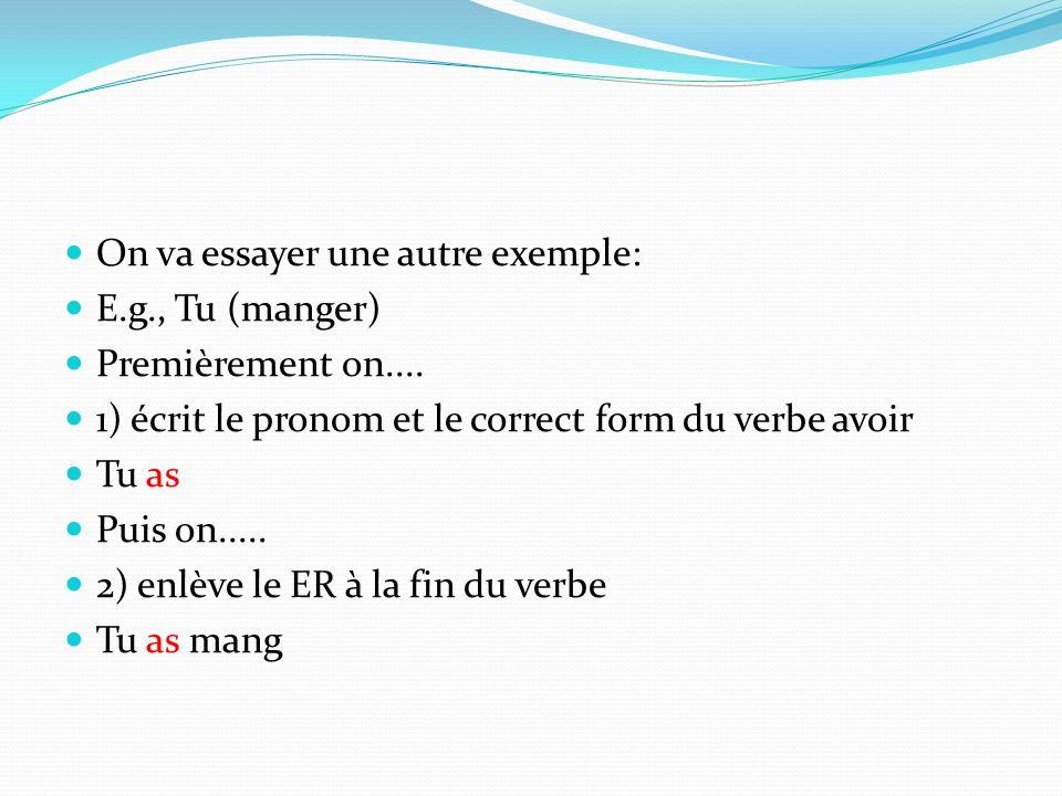 On va essayer une autre exemple: E.g., Tu (manger) Premièrement on.... 1) écrit le pronom et le correct form du verbe avoir Tu as Puis on..... 2) enlè