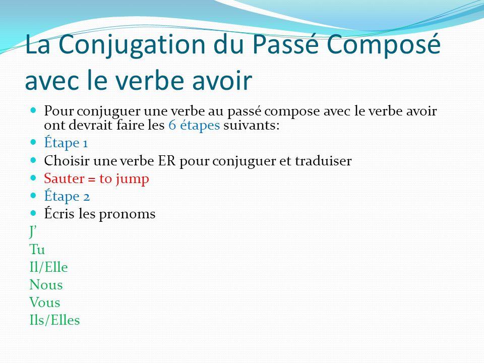 La Conjugation du Passé Composé avec le verbe avoir Pour conjuguer une verbe au passé compose avec le verbe avoir ont devrait faire les 6 étapes suiva