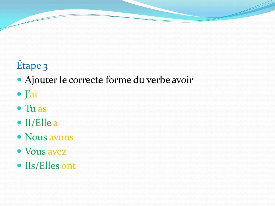 Étape 3 Ajouter le correcte forme du verbe avoir Jai Tu as Il/Elle a Nous avons Vous avez Ils/Elles ont