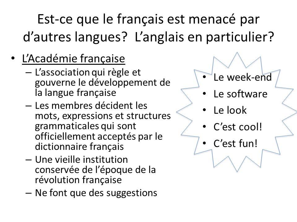 Est-ce que le français est menacé par dautres langues? Langlais en particulier? LAcadémie française – Lassociation qui règle et gouverne le développem