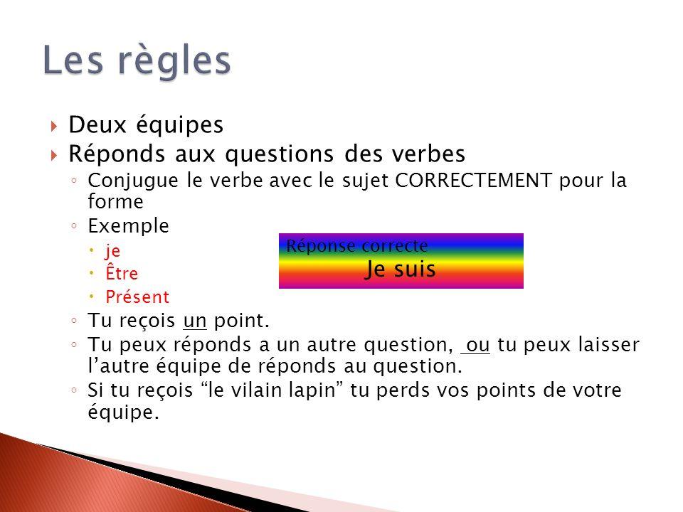 Deux équipes Réponds aux questions des verbes Conjugue le verbe avec le sujet CORRECTEMENT pour la forme Exemple je Être Présent Tu reçois un point.