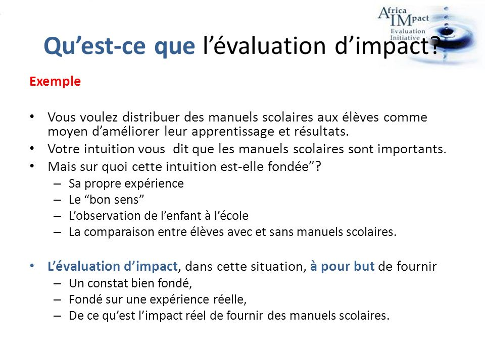Quest-ce que lévaluation dimpact.