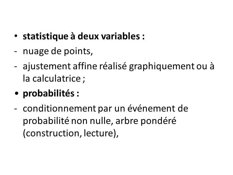 statistique à deux variables : -nuage de points, -ajustement affine réalisé graphiquement ou à la calculatrice ; probabilités : -conditionnement par un événement de probabilité non nulle, arbre pondéré (construction, lecture),