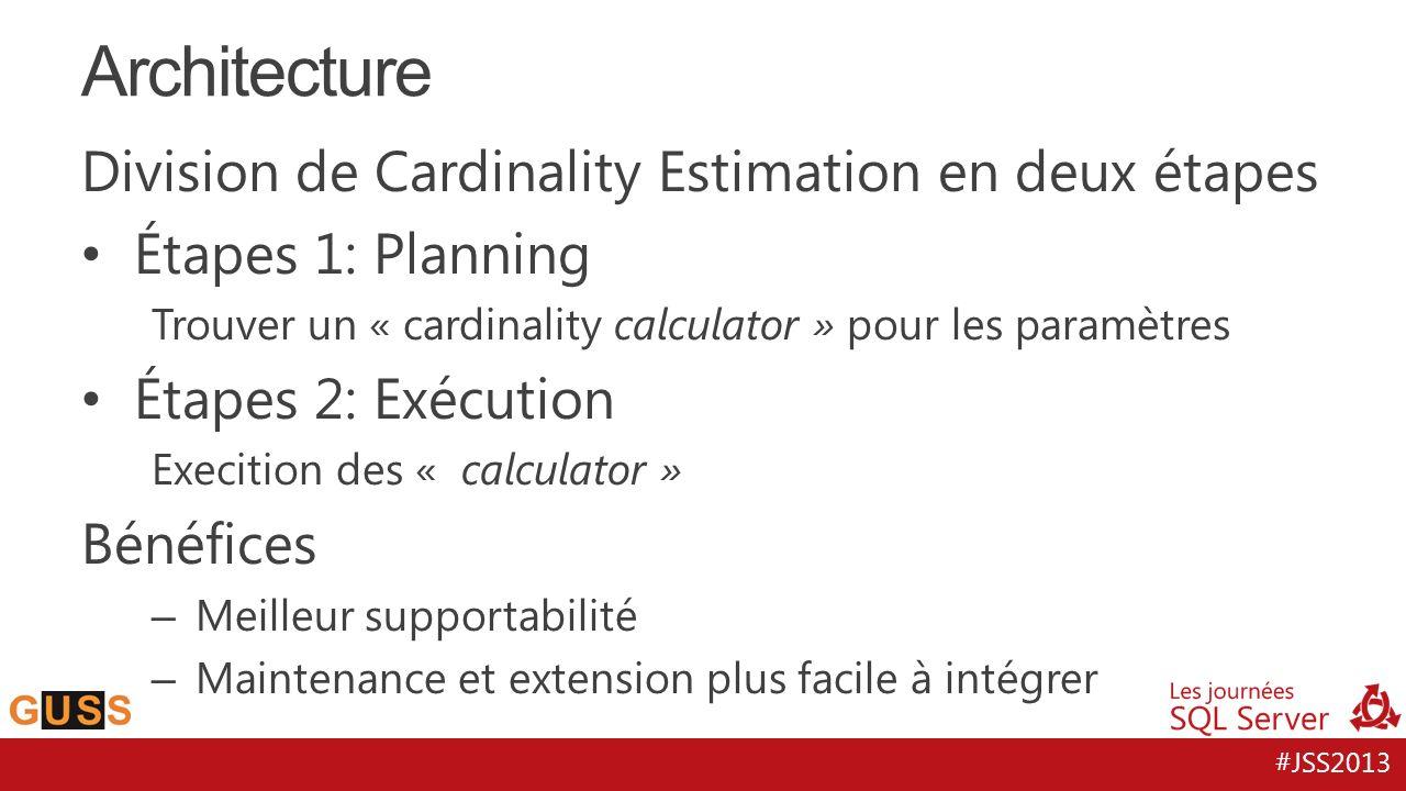 #JSS2013 Division de Cardinality Estimation en deux étapes Étapes 1: Planning Trouver un « cardinality calculator » pour les paramètres Étapes 2: Exécution Execition des « calculator » Bénéfices – Meilleur supportabilité – Maintenance et extension plus facile à intégrer Architecture