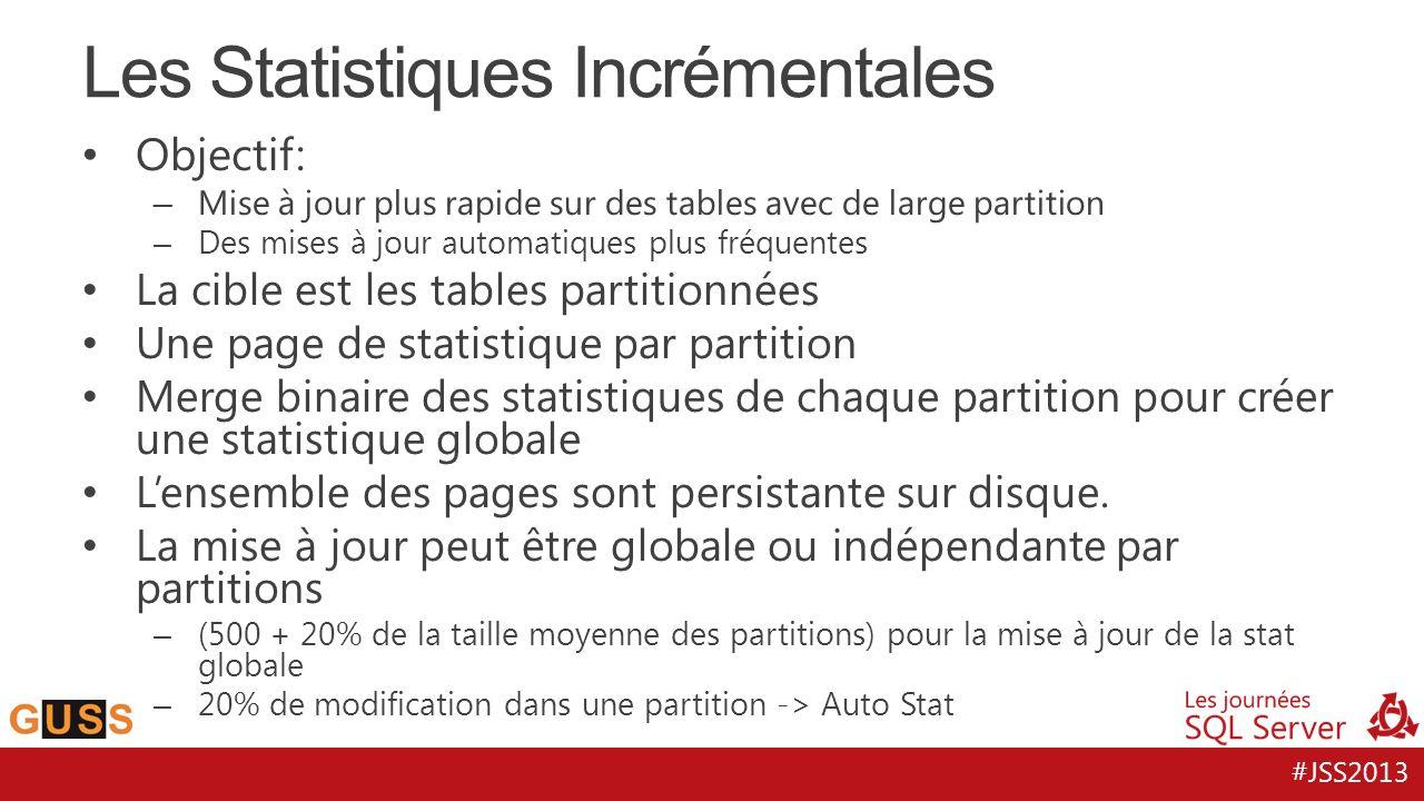 #JSS2013 Objectif: – Mise à jour plus rapide sur des tables avec de large partition – Des mises à jour automatiques plus fréquentes La cible est les tables partitionnées Une page de statistique par partition Merge binaire des statistiques de chaque partition pour créer une statistique globale Lensemble des pages sont persistante sur disque.