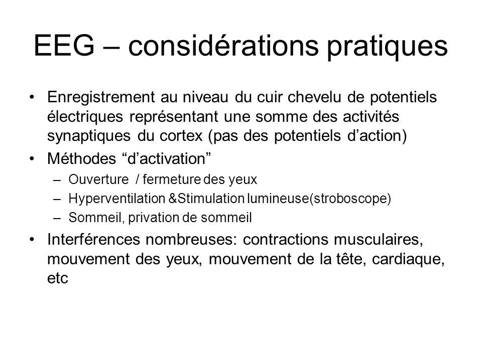 EEG – considérations pratiques Enregistrement au niveau du cuir chevelu de potentiels électriques représentant une somme des activités synaptiques du