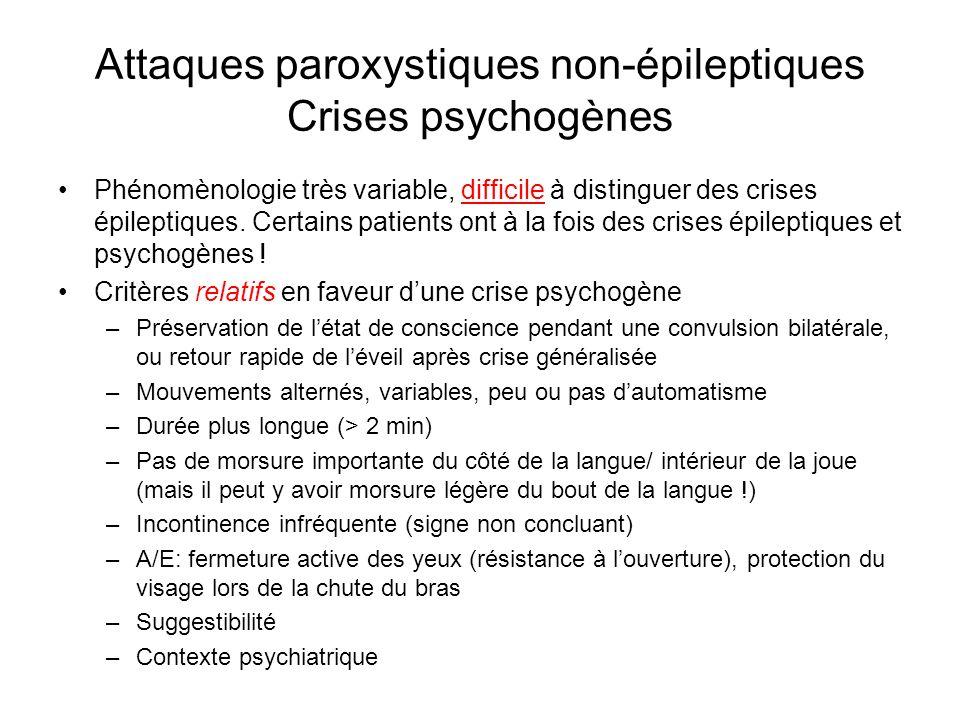 Phénomènologie très variable, difficile à distinguer des crises épileptiques. Certains patients ont à la fois des crises épileptiques et psychogènes !