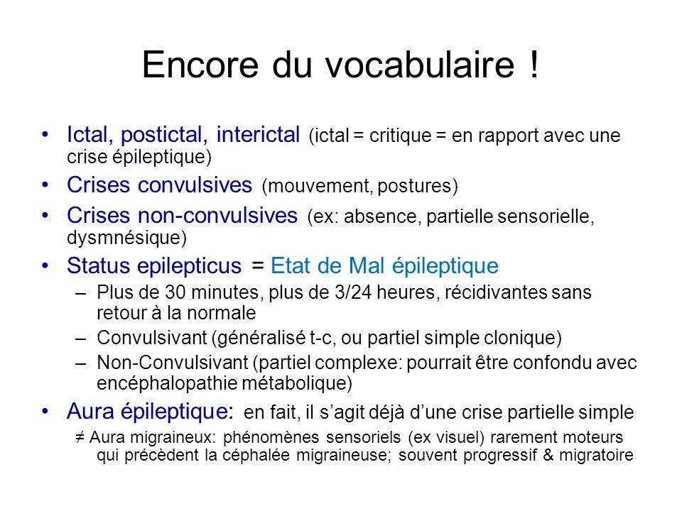 Encore du vocabulaire ! Ictal, postictal, interictal (ictal = critique = en rapport avec une crise épileptique) Crises convulsives (mouvement, posture