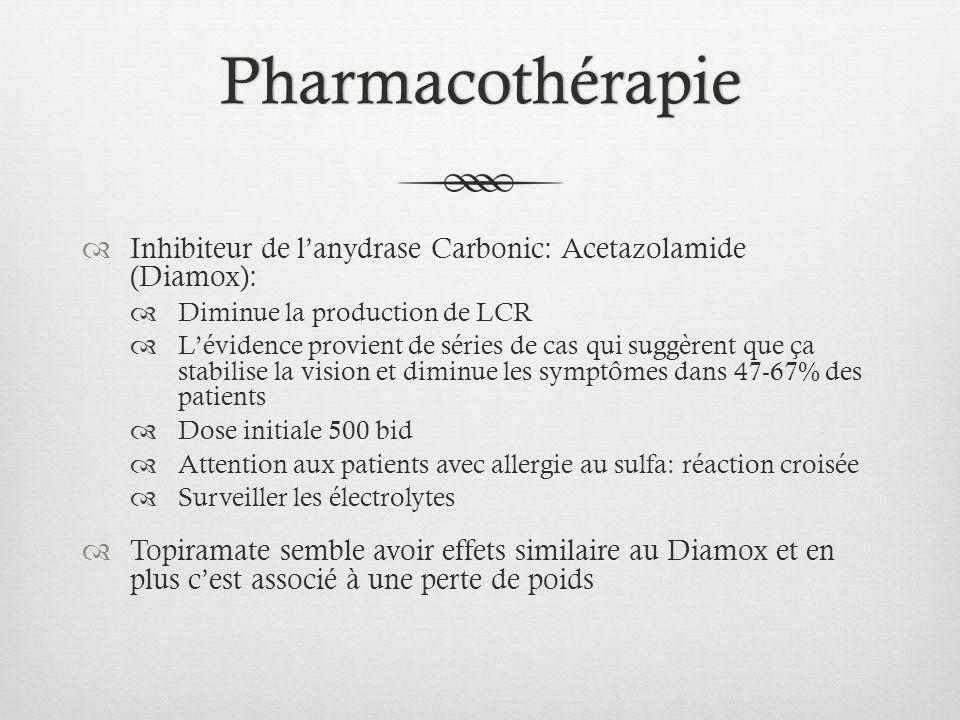 Pharmacothérapie Inhibiteur de lanydrase Carbonic: Acetazolamide (Diamox): Diminue la production de LCR Lévidence provient de séries de cas qui suggèr