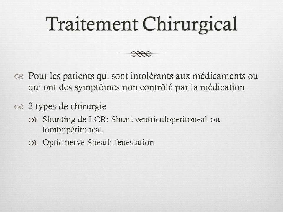 Traitement ChirurgicalTraitement Chirurgical Pour les patients qui sont intolérants aux médicaments ou qui ont des symptômes non contrôlé par la médic