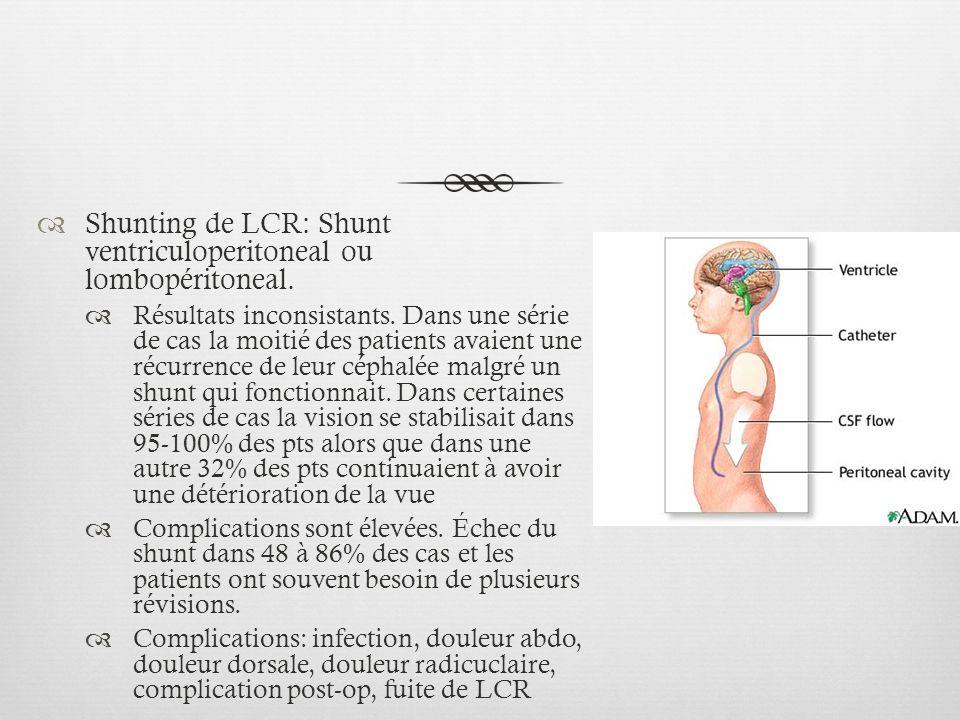 Shunting de LCR: Shunt ventriculoperitoneal ou lombopéritoneal. Résultats inconsistants. Dans une série de cas la moitié des patients avaient une récu