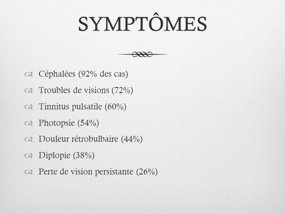 SYMPTÔMES Céphalées (92% des cas) Troubles de visions (72%) Tinnitus pulsatile (60%) Photopsie (54%) Douleur rétrobulbaire (44%) Diplopie (38%) Perte