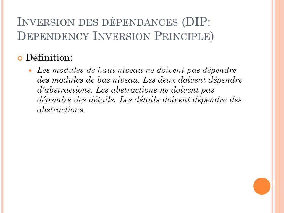 I NVERSION DES DÉPENDANCES (DIP: D EPENDENCY I NVERSION P RINCIPLE ) Définition: Les modules de haut niveau ne doivent pas dépendre des modules de bas
