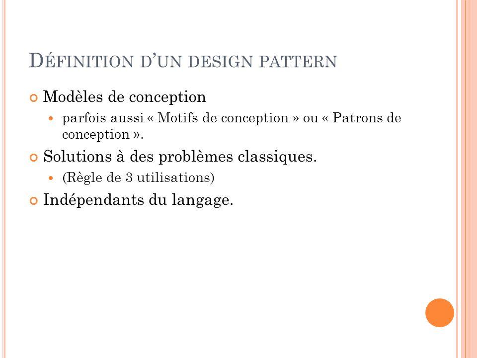 D ÉFINITION D UN DESIGN PATTERN Modèles de conception parfois aussi « Motifs de conception » ou « Patrons de conception ». Solutions à des problèmes c