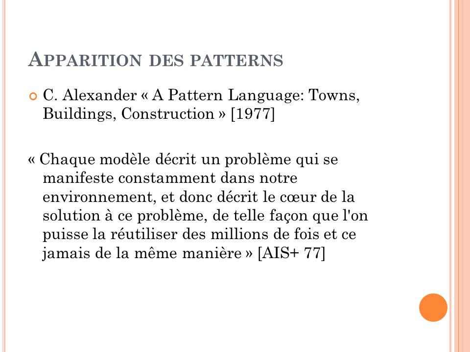 A PPARITION DES PATTERNS C. Alexander « A Pattern Language: Towns, Buildings, Construction » [1977] « Chaque modèle décrit un problème qui se manifest