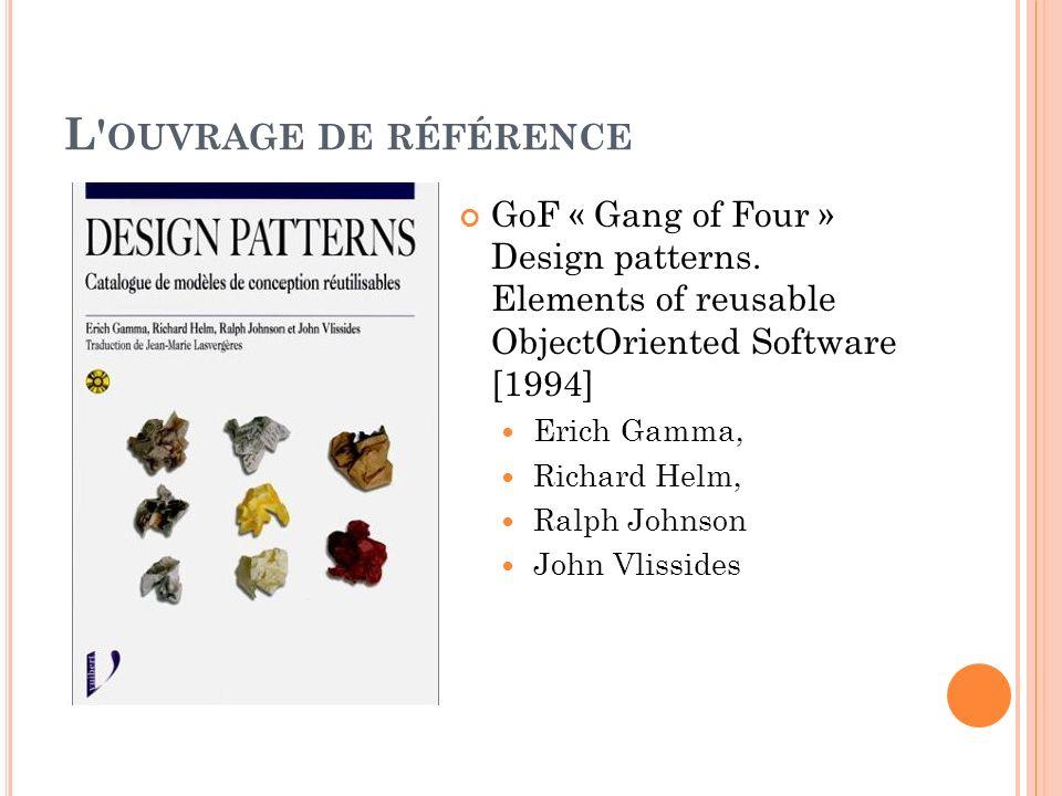 L' OUVRAGE DE RÉFÉRENCE GoF « Gang of Four » Design patterns. Elements of reusable ObjectOriented Software [1994] Erich Gamma, Richard Helm, Ralph Joh