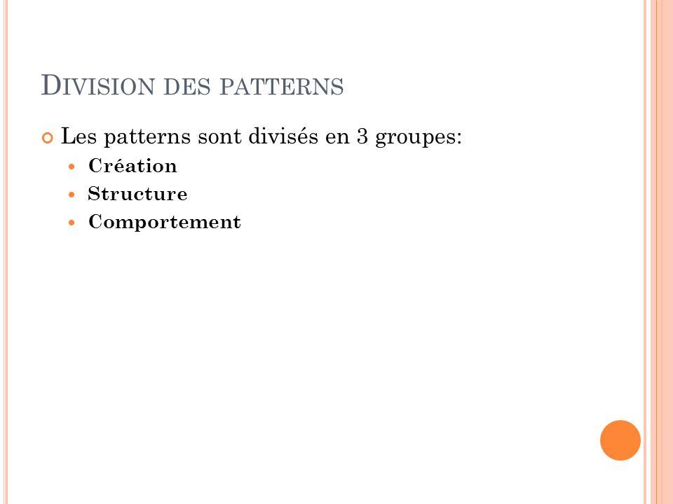 D IVISION DES PATTERNS Les patterns sont divisés en 3 groupes: Création Structure Comportement