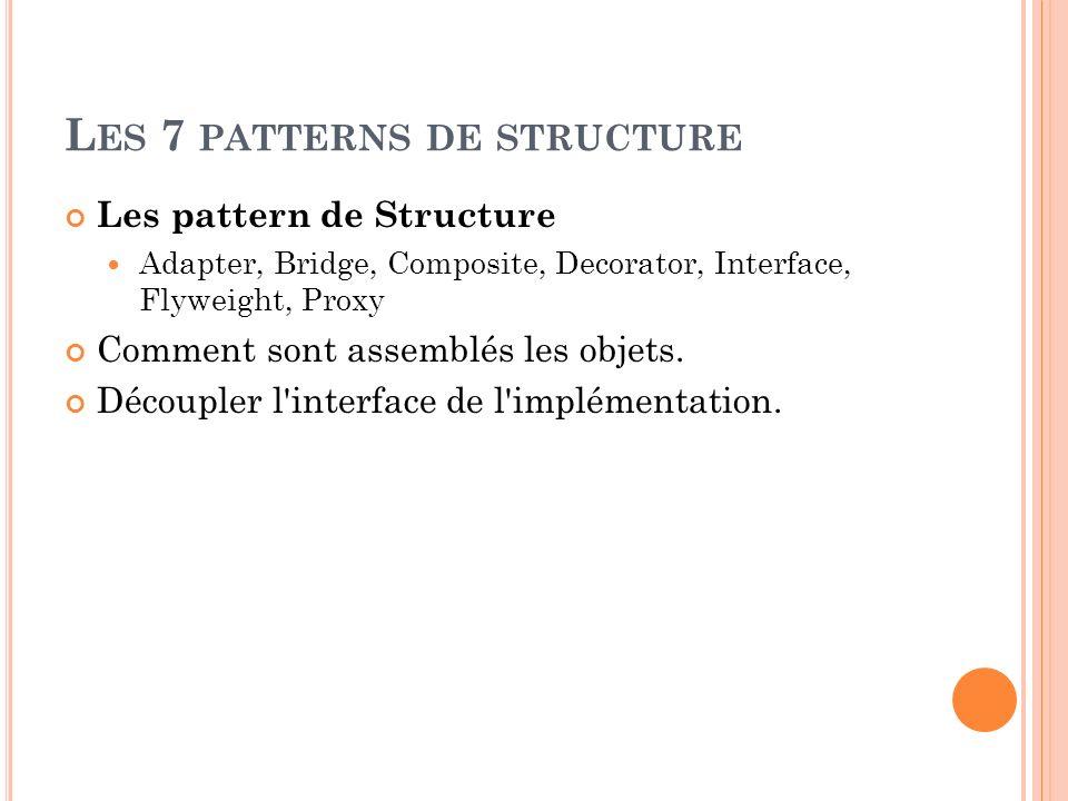 L ES 7 PATTERNS DE STRUCTURE Les pattern de Structure Adapter, Bridge, Composite, Decorator, Interface, Flyweight, Proxy Comment sont assemblés les ob