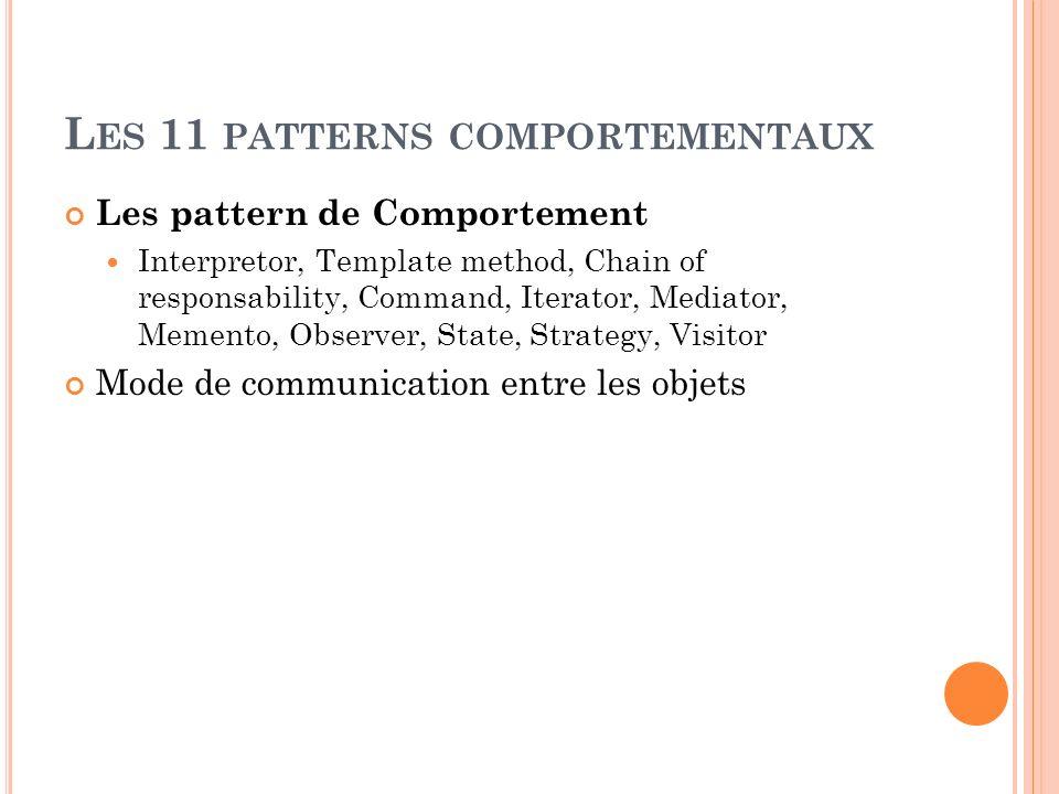 L ES 11 PATTERNS COMPORTEMENTAUX Les pattern de Comportement Interpretor, Template method, Chain of responsability, Command, Iterator, Mediator, Memen