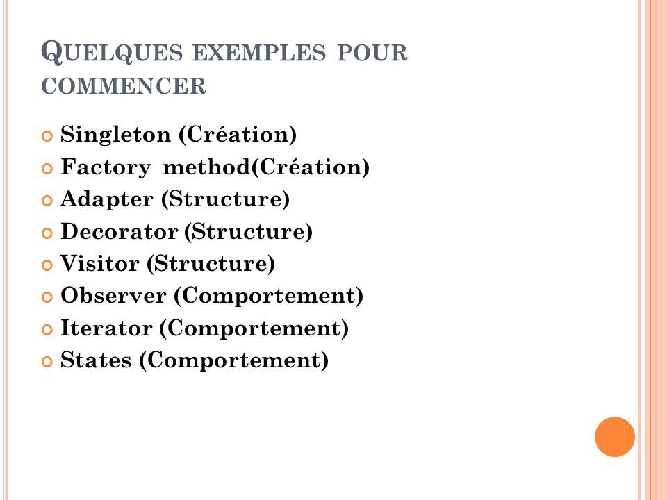 Q UELQUES EXEMPLES POUR COMMENCER Singleton (Création) Factory method(Création) Adapter (Structure) Decorator (Structure) Visitor (Structure) Observer
