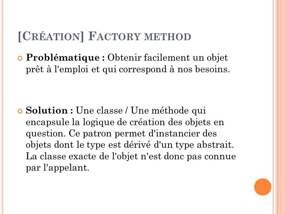 [C RÉATION ] F ACTORY METHOD Problématique : Obtenir facilement un objet prêt à l'emploi et qui correspond à nos besoins. Solution : Une classe / Une