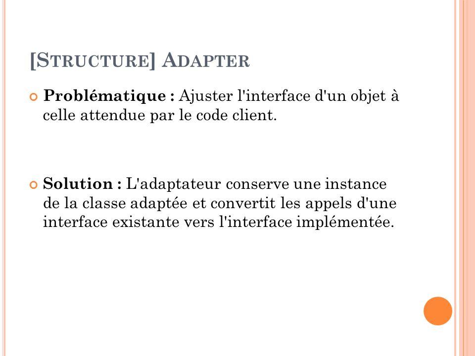 [S TRUCTURE ] A DAPTER Problématique : Ajuster l'interface d'un objet à celle attendue par le code client. Solution : L'adaptateur conserve une instan