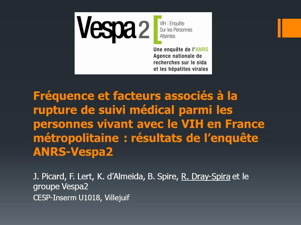 Fréquence et facteurs associés à la rupture de suivi médical parmi les personnes vivant avec le VIH en France métropolitaine : résultats de lenquête ANRS-Vespa2 J.