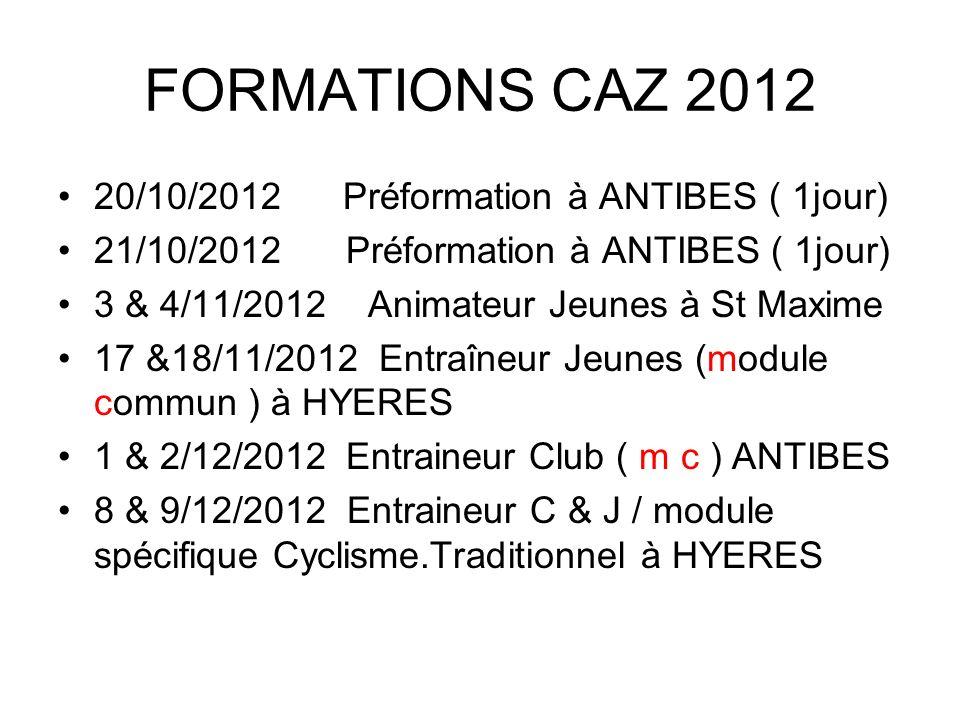 FORMATIONS CAZ 2012 20/10/2012 Préformation à ANTIBES ( 1jour) 21/10/2012Préformation à ANTIBES ( 1jour) 3 & 4/11/2012 Animateur Jeunes à St Maxime 17