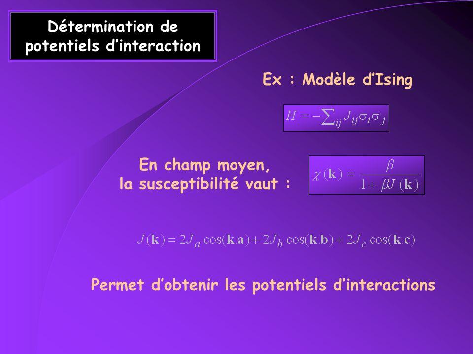 Exemple Bragg Diffusion diffuse Isotrope J i =J j Anisotrope (1D) 100xJi=Jj Ordre local Difficile à distinguer dans lespace réel