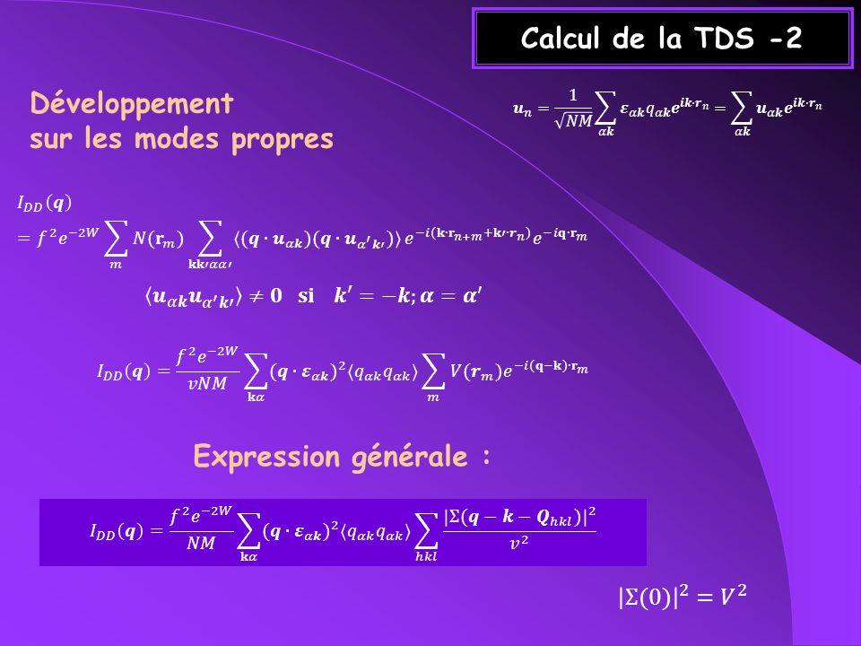 Calcul de la TDS-3 +k-k Q hkl q ~1/k 2 ~N : diffusion diffuse k B T : diffusion thermique (q.